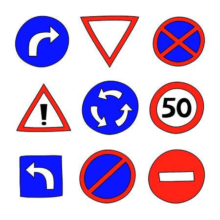 street signs: Cartoon colorful street signs set on white, vector illustration Illustration
