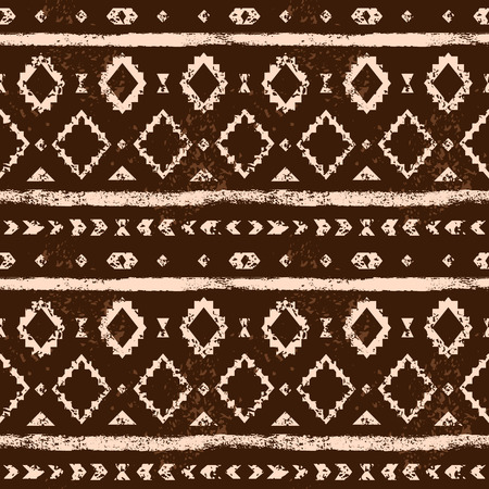 tribal pattern: Brown and white aged geometric aztec grunge seamless pattern, vector