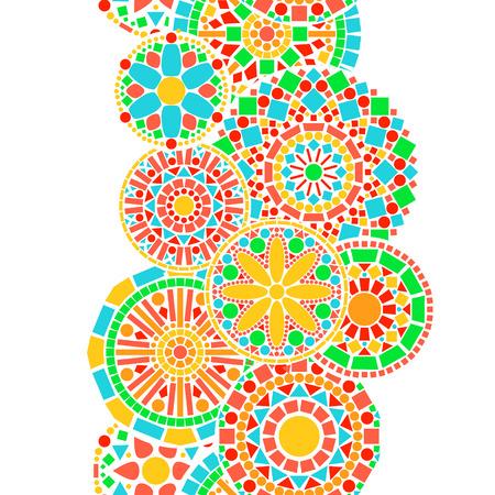 カラフルなサークル花曼荼羅ボーダー グリーン、オレンジ白いシームレスなパターン ベクトル