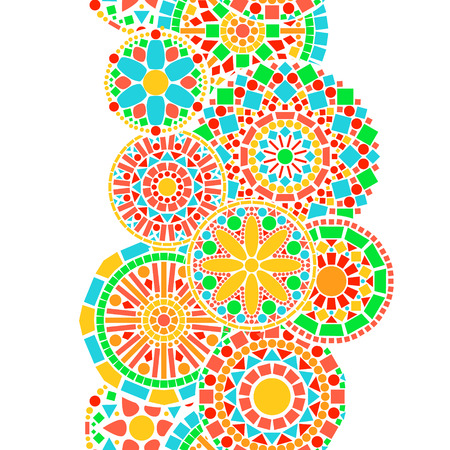 Colorful circle floral mandala border in green and orange on white seamless pattern, vector Vettoriali