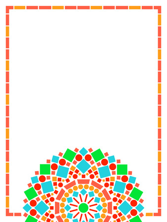 yellow orange: Colorful circle floral mandala frame background in green and orange on white, vector Illustration