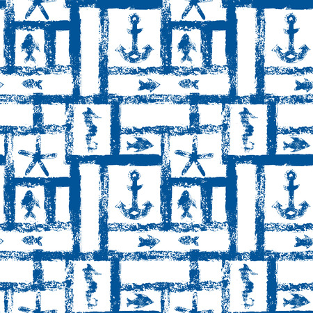anchor: Nautical blue and white grunge lattice with anchor, star and fishes, seamless pattern, vector