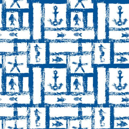 ancre marine: Nautique bleu et blanc grunge r�seau avec l'ancre, �toile et poissons, seamless, vecteur