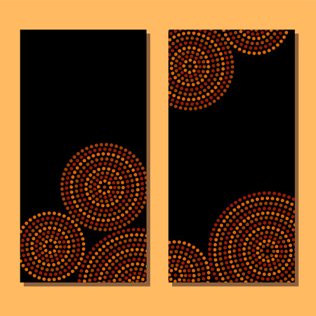 Aboriginal art dot circles frame, vector