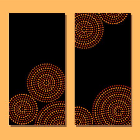 Aboriginal art dot circles frame, vector