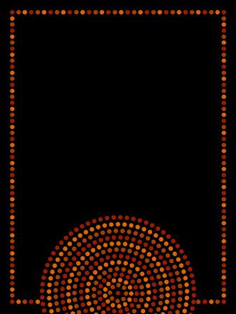 aboriginal: Aboriginal art dot circles frame, vector
