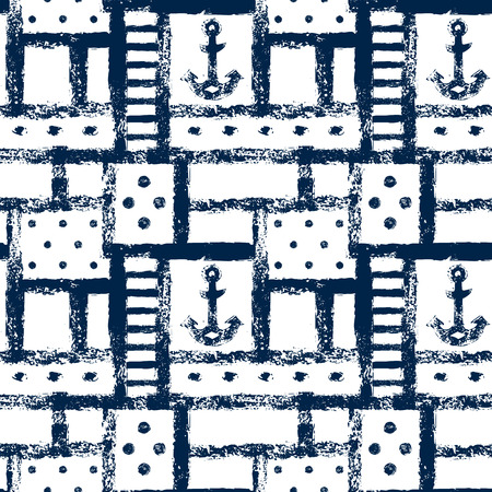 nautical: Navy blue and white geometric anchor stripe and dot seamless pattern