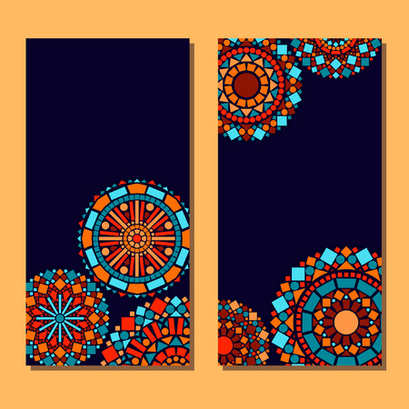 design vector: Colorful circle floral mandala set of cards background in blue and orange vector