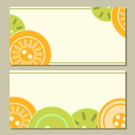 blue buttons: Colorful blue green and orange buttons on white cards set Illustration