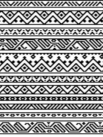 黒と白のエスニック幾何学的アステカ シームレスな境界線のパターン、ベクトル