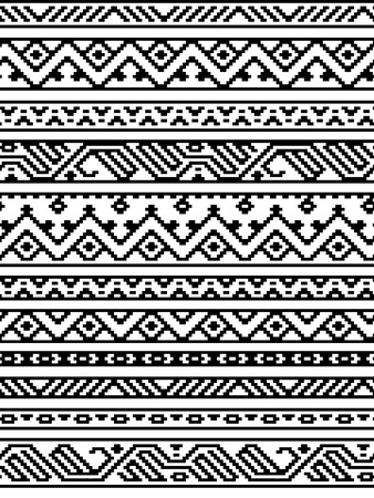 Black and white ethnic geometric aztec seamless borders pattern, vector Vettoriali
