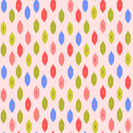 kilim: Colorful ikat fabric in pink, red blue and green seamless pattern, vector Illustration
