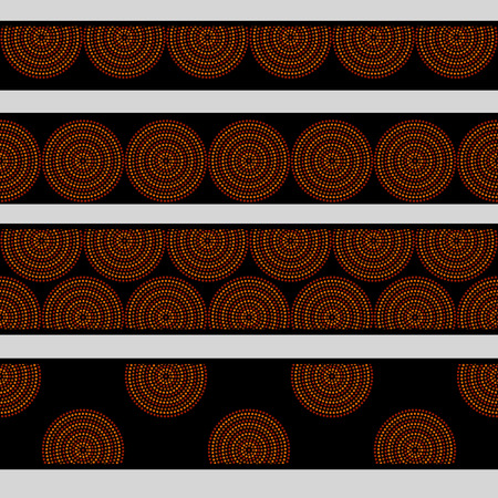 colore: Australian aboriginal geometric art concentric circles in orange brown and black seamless borders set, vector Illustration