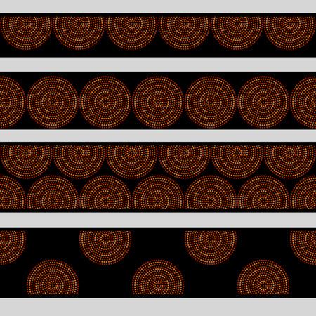 Australian aboriginal geometric art concentric circles in orange brown and black seamless borders set, vector Illustration