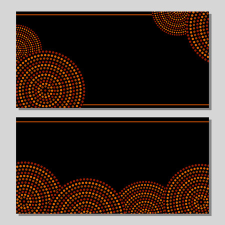 Australian aboriginal geometric art concentric circles in orange brown and black, two cards set, vector