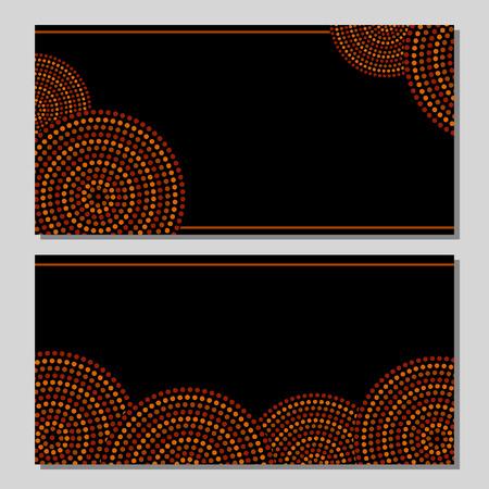 Aborígenes arte geométrico círculos concéntricos australianos en marrón, naranja y negro, dos tarjetas de conjunto, vector Ilustración de vector