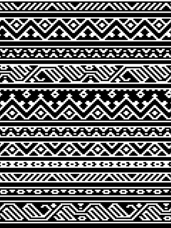 blanket: Geometric aztec black and white seamless pattern, vector Illustration