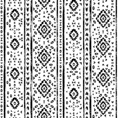 geo: Black and white aged geometric aztec grunge seamless pattern, vector Illustration