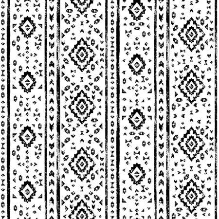 Black and white aged geometric aztec grunge seamless pattern, vector Illustration