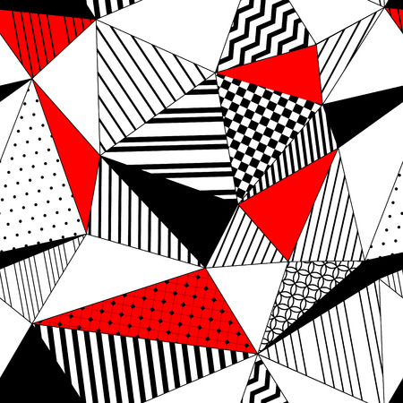 Abstract geometric striped triangles seamless pattern in black white and red, vector Vettoriali