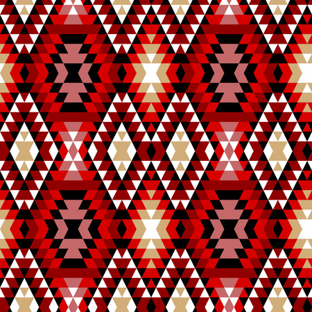 fabric patterns: Colorful red white and black aztec ornaments geometric ethnic seamless pattern, vector