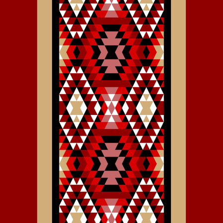 kilim: Colorful red white and black aztec ornaments geometric ethnic seamless border, vector Illustration