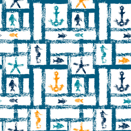 star pattern: Nautical blue orange and white grunge lattice with anchor, star and fishes, seamless pattern, vector Illustration