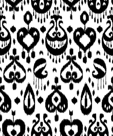 kilim: Black and white ikat asian traditional fabric seamless pattern, vector Illustration