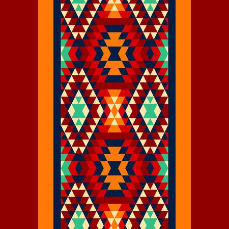 jaune rouge: Bleu jaune rouge color� et noir et ornements azt�que g�om�trique fronti�re ethnique transparente, vecteur Illustration