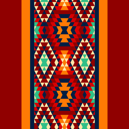 kilim: Colorful red yellow blue and and black aztec ornaments geometric ethnic seamless border, vector