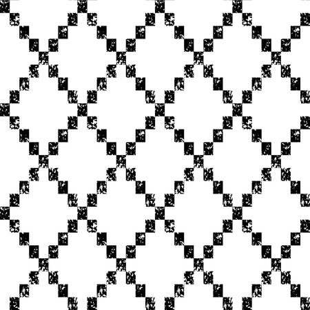 vector ornament: Black and white aged geometric rhombus shape grunge seamless pattern, vector