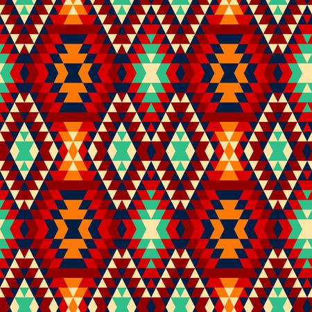 カラフルな赤黄色青と黒アステカ族の装飾品幾何学的なエスニック シームレス パターン、ベクトル  イラスト・ベクター素材