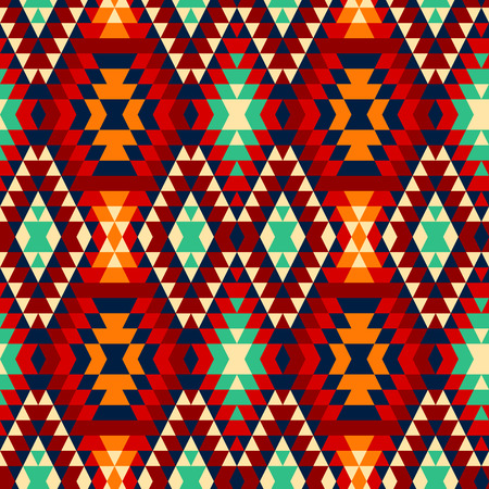 indios americanos: Colorido rojo amarillo azul y negro ornamentos aztecas geométrica patrón transparente étnica, vector Vectores
