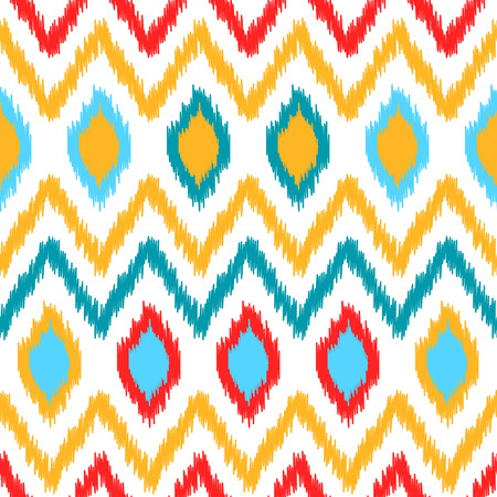 kilim: Ethnic ikat abstract colorful geometric pattern in white, yellow, red and blue, vector