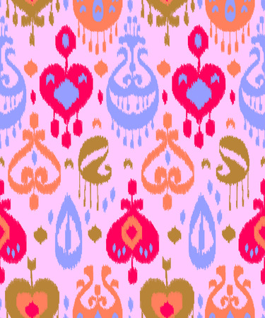 kilim: Pink blue and red colorful ikat asian traditional fabric seamless pattern, vector