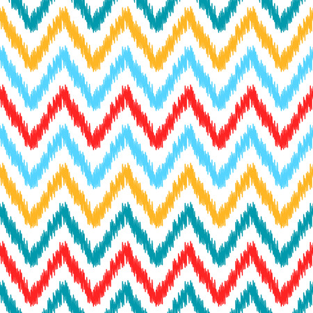 uzbekistan: Ethnic colorful ikat abstract geometric chevron pattern in white, blue, red and yellow, vector