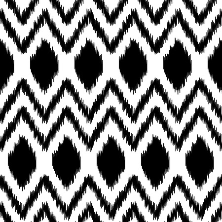 kilim: Black and white ethnic ikat abstract geometric pattern, vector