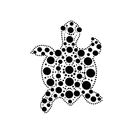 Black and white turtle aboriginal australian style dot painting illustration, vector