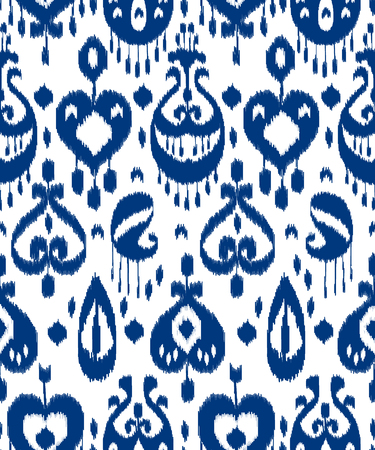 Blue and white ikat asian traditional fabric seamless pattern, vector Vettoriali