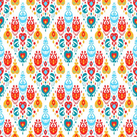 Rosso blu giallo e bianco colorato ikat asiatico tradizionale tessuto senza soluzione di modello, vettore Archivio Fotografico - 44692963