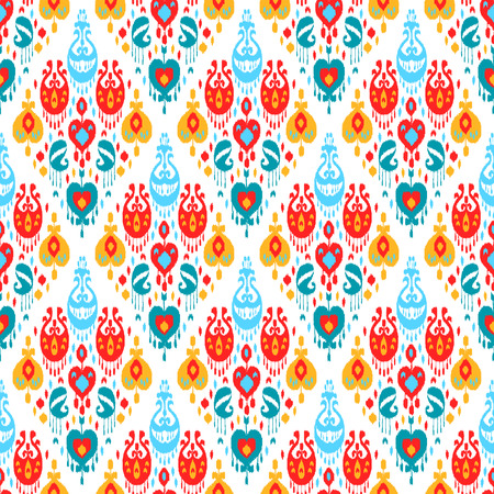 Red blue yellow and white colorful ikat asian traditional fabric seamless pattern, vector