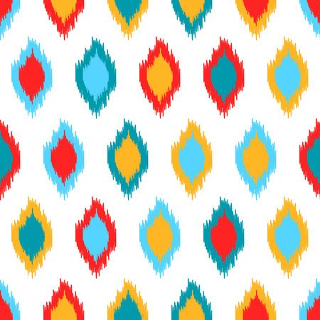 kilim: Red blue yellow and white colorful ikat asian traditional fabric seamless pattern, vector