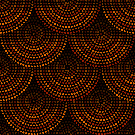 Australian aboriginal geometric art concentric circles seamless pattern in orange brown and black, vector Иллюстрация