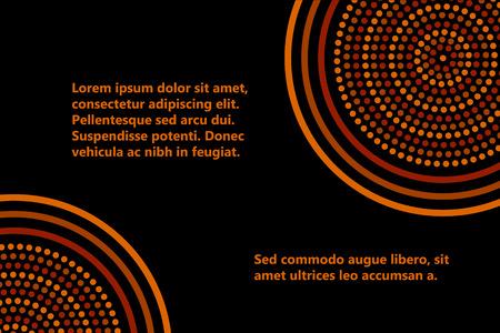 aborigen: Arte geométrico concéntrico plantilla de círculos bandera aborigen australiana en naranja marrón y negro, vector