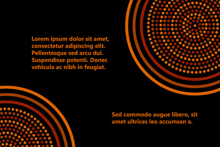 Australian aboriginal geometric art concentric circles banner template in orange brown and black, vector Vettoriali