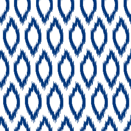 青と白のイカット アジアの伝統的なファブリックのシームレスなパターン、ベクトル  イラスト・ベクター素材