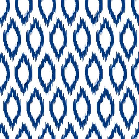 Blauw en wit ikat Aziatische traditionele stof naadloze patroon, vector Stock Illustratie