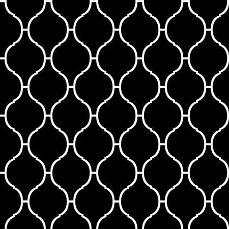 quatrefoil: Black and white arabic traditional quatrefoil seamless pattern, vector Illustration