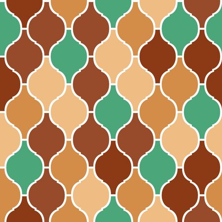 trellis: Colorful brown and green arabic traditional quatrefoil seamless pattern, vector