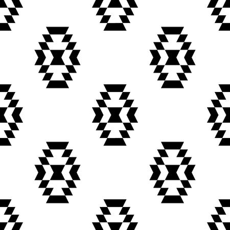 kilim: Black and white aztec ornament geometric ethnic seamless pattern, vector